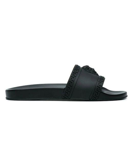 Versace - Black Medusa Outbossed Rubber Slide Sandals for Men - Lyst