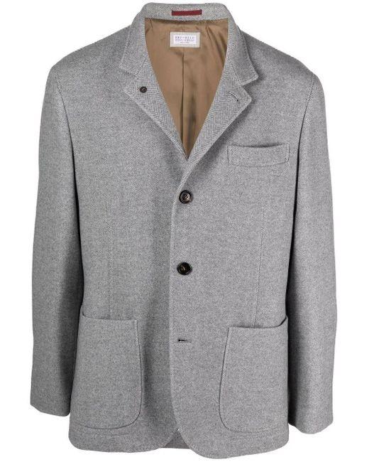 Brunello Cucinelli Gray Grey Virgin Wool-cashmere Blend Single-breasted Blazer for men
