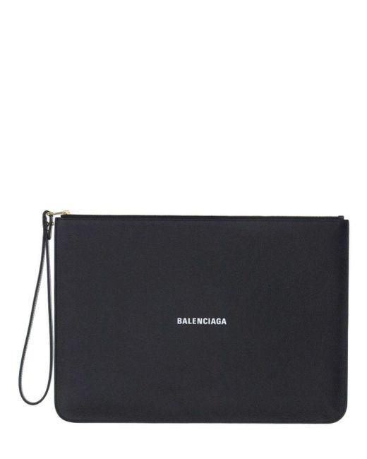 Balenciaga Black Leather Clutch Bag With Logo