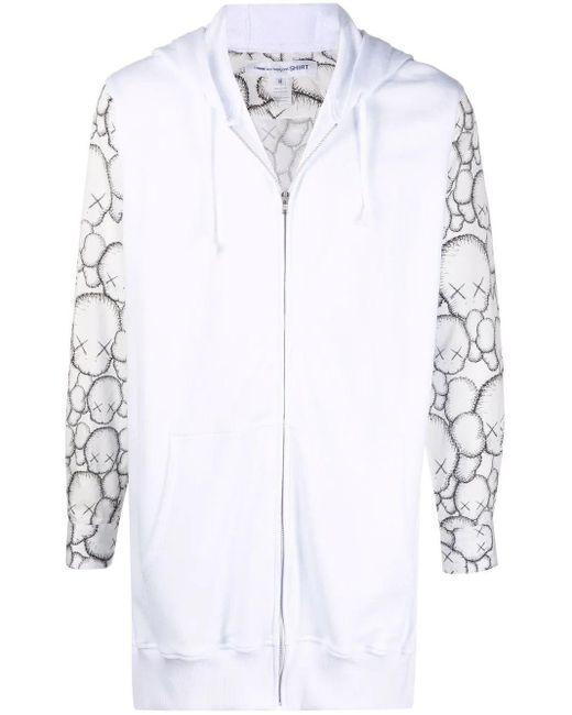 Comme des Garçons White Oversized Zip-up Sweatshirt for men
