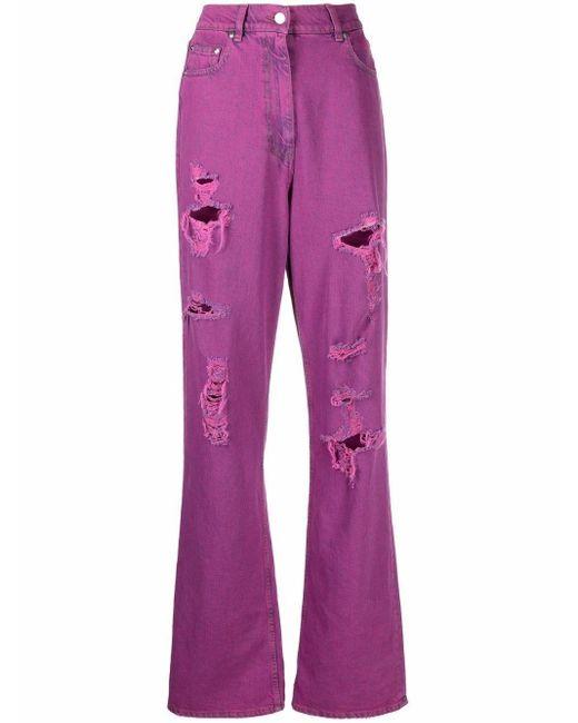 MSGM Pink Fuchsia High-waisted Boyfriend Jeans