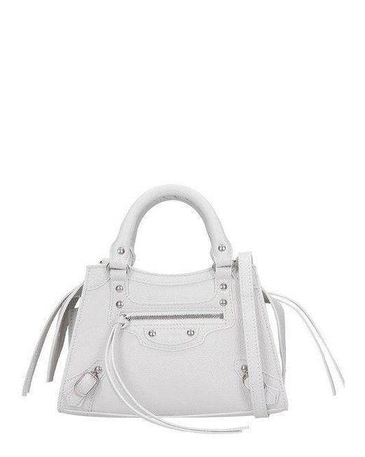 Borsa Neo Classic Top Handle Mini in bianco di Balenciaga in White