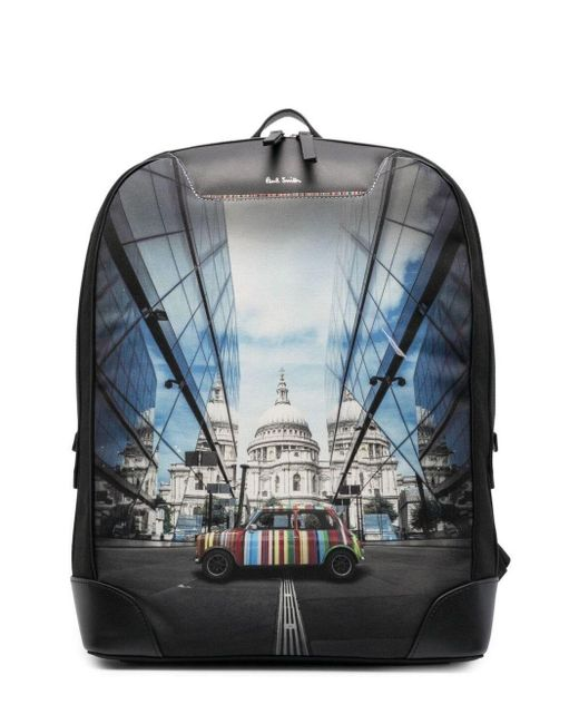 Paul Smith Black Logo Graphic Print Backpack