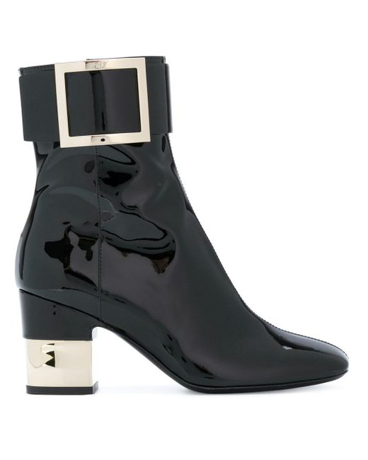 Roger Vivier - Black Patent Podium Ankle Boots - Lyst