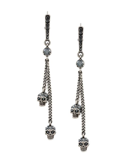 Alexander McQueen - Multicolor Embellished Skull Clip-on Earrings - Lyst