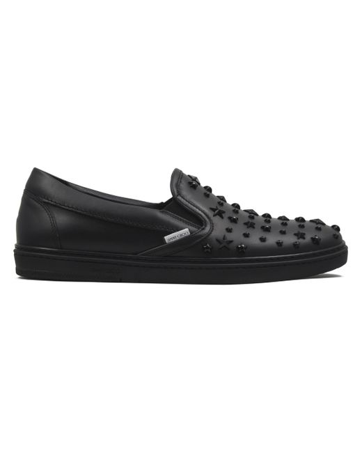 Jimmy Choo - Black Grove Leather Slip-on Sneakers for Men - Lyst