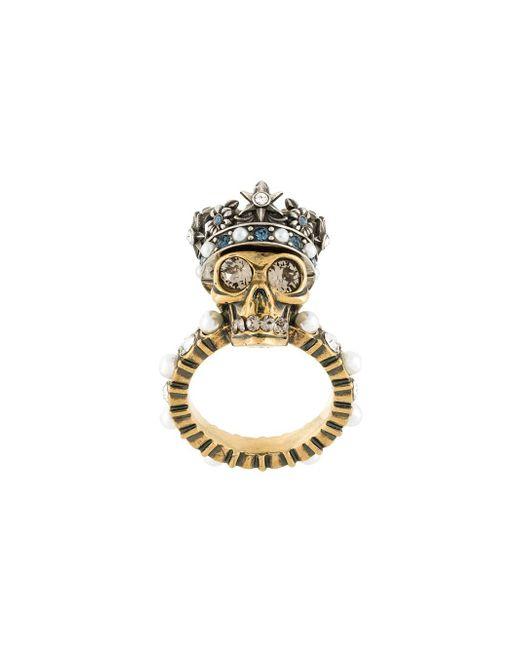 Alexander McQueen | Metallic King Skull Crystal-detail Ring | Lyst