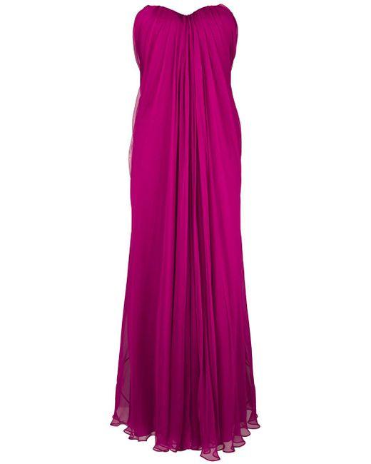 Alexander McQueen - Pink Gathered Strapless Gown - Lyst
