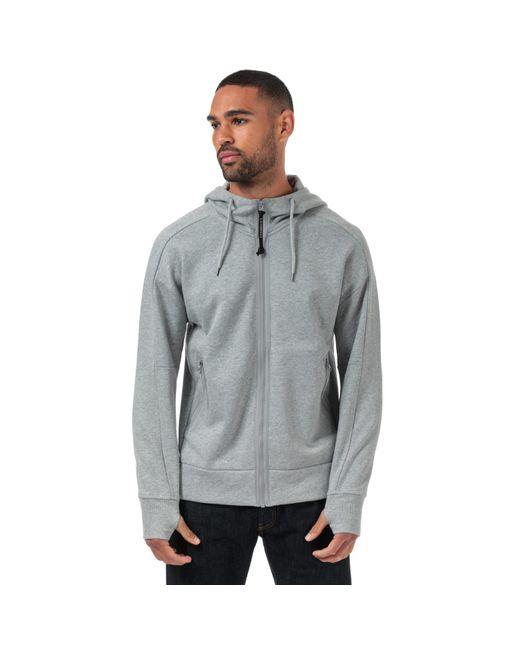 C P Company Gray Diagonal Fleece Goggle Zip Through Hoody for men
