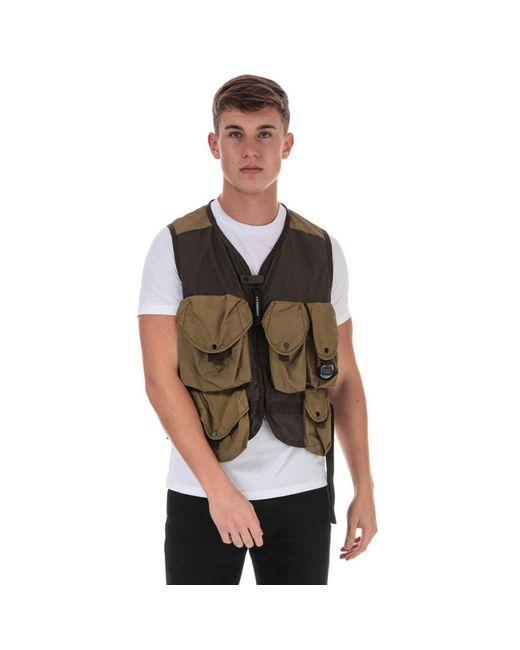 C P Company Green Taylon P Utility Vest for men