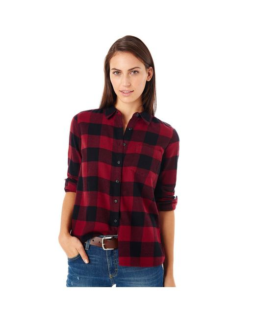 G h bass co buffalo check flannel shirt in red lyst for Red buffalo flannel shirt