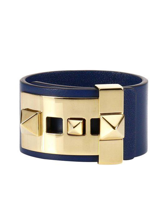 Valentino | Blue Rockstud Bracelet With Metal Studs | Lyst