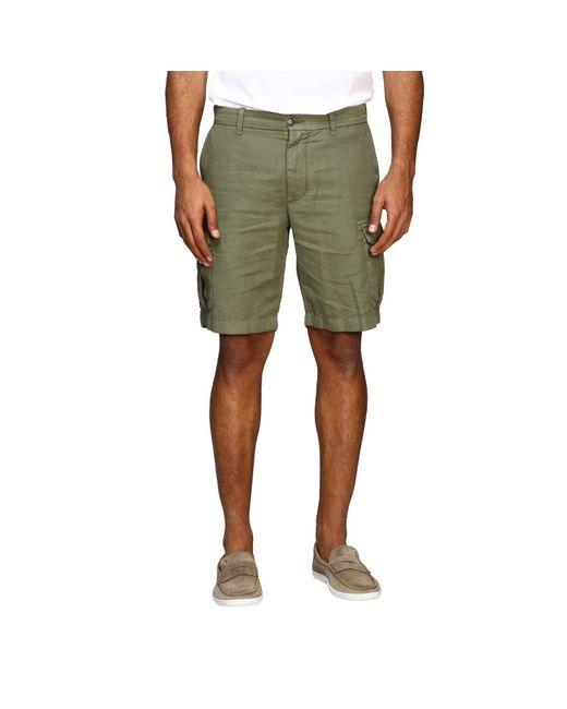 Eleventy Green Kargo Bermuda Shorts In Cotton And Linen for men