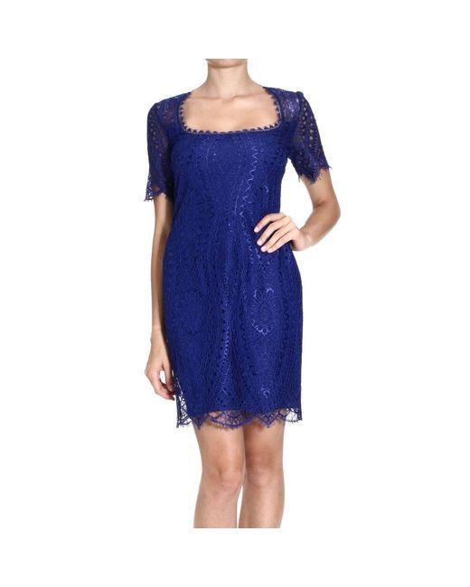 Emilio Pucci | Blue Lace Trim Flared Dress | Lyst