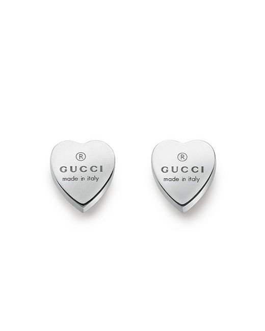 Gucci   Metallic Trademark Heart Earrings 925 Silver With Engraving   Lyst