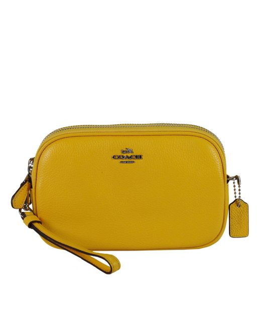 COACH | Yellow Pebbled Leather Cross-body Bag | Lyst