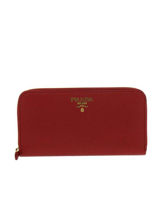 96589850b58b ... where can i buy prada red wallet women lyst bd2fc e17c1