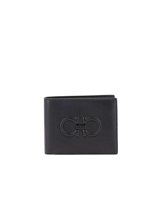 Ferragamo - Black Gancini Logo Wallet for Men - Lyst