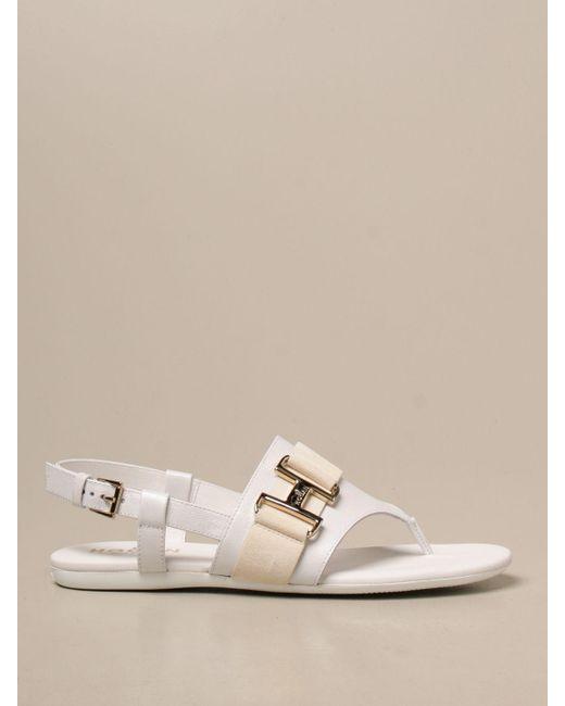 Hogan White Flat Sandals