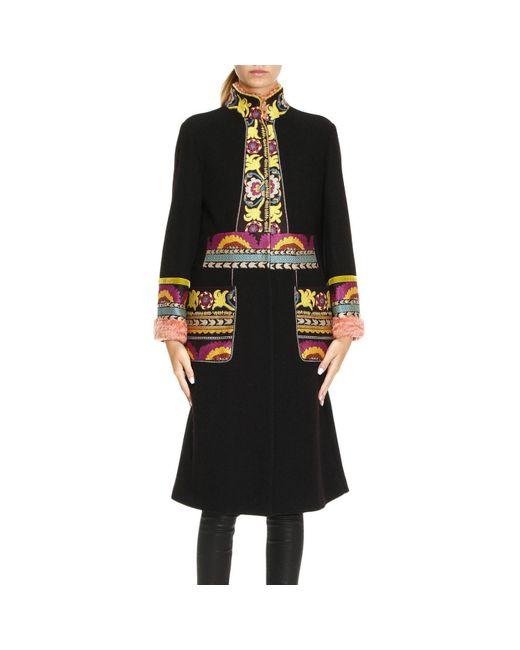 Etro | Black Coat Women | Lyst