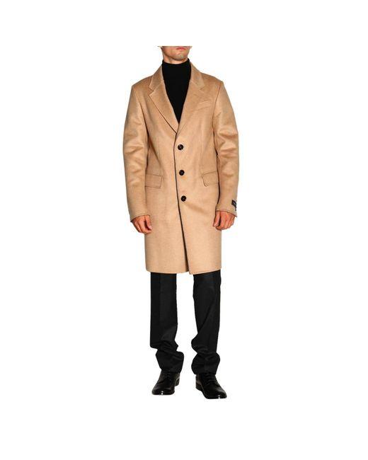 Ermenegildo Zegna Natural Single Breasted Coat In Cashmere Blend for men