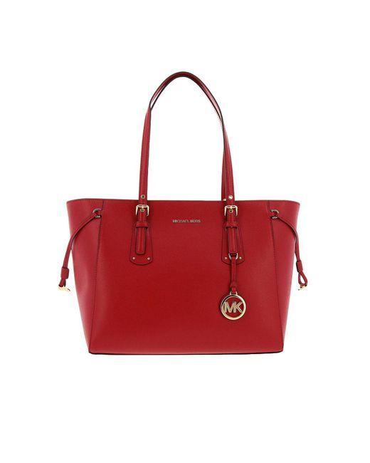 453b46d708 MICHAEL Michael Kors - Borsa Shopping Voyager In Pelle Rossa Women's  Handbags In Red ...