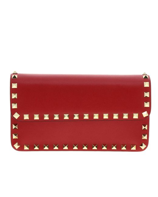 Valentino Red Rockstud Spike Bag In Leather With A Thin Shoulder Strap