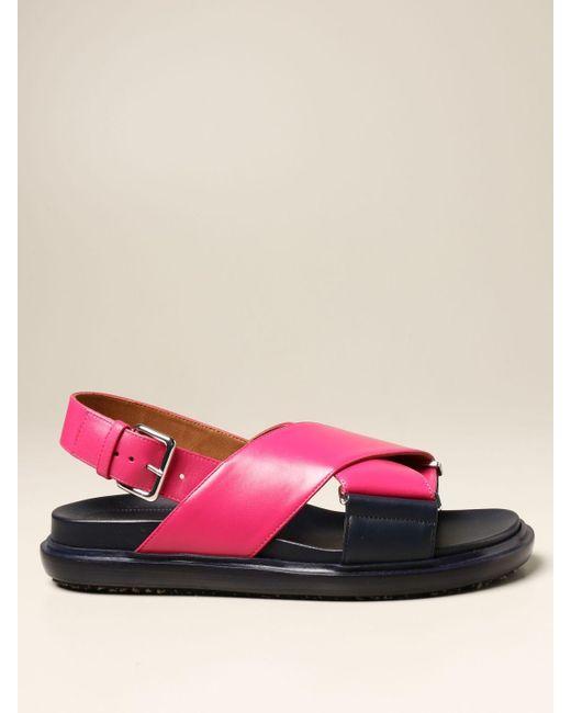 Marni Pink Flat Sandals