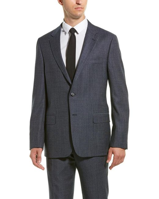 Hickey Freeman Gray 2pc Milburn Ii Wool Suit With Flat Pant for men
