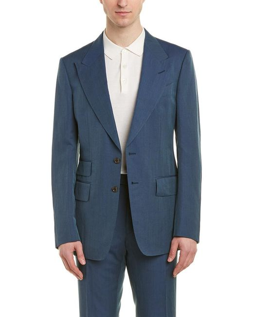 Tom Ford Blue Shelton 2pc Linen , Silk, & Wool-blend Suit With Flat Pant for men