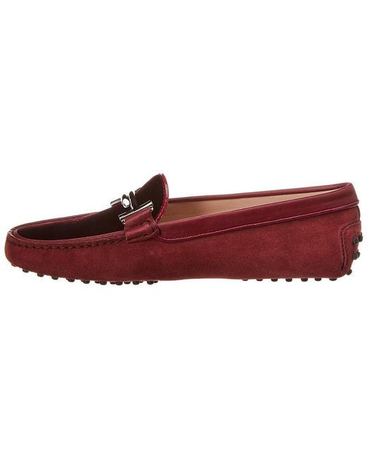 01ffb45aef4 ... Lyst Tod s - Red Gommino Double T Suede Loafer ...