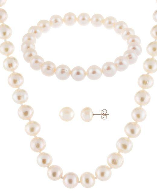 Splendid Metallic Silver 8-8.5mm Freshwater Pearl Necklace, Earrings, & Bracelet Set