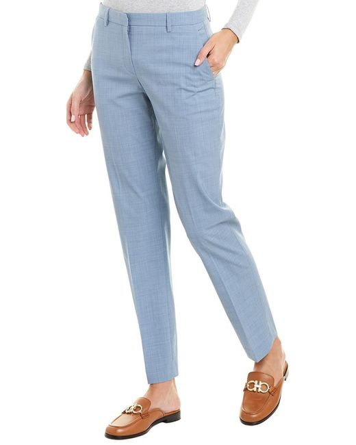 Theory Blue Tailored Wool-blend Trouser
