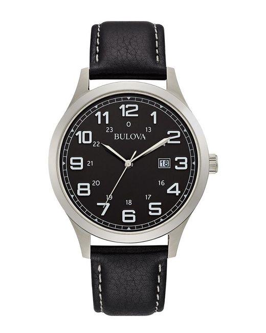 Bulova Metallic Men's Leather Watch for men