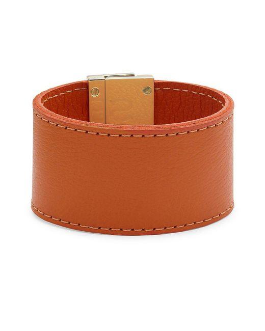 CC SKYE - Orange Leather Wrap Wide Bracelet - Lyst