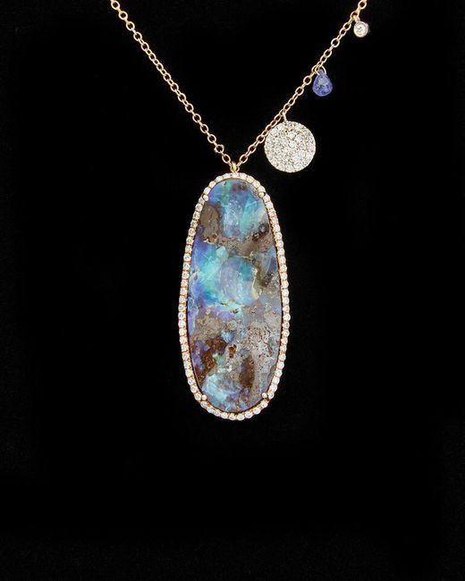 Meira T Metallic 14k Rose Gold & Silver 32.47 Ct. Tw. Diamond & Boulder Opal Necklace