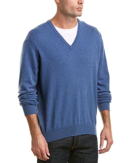 Turnbull & Asser Blue Merino V-neck Sweater for men