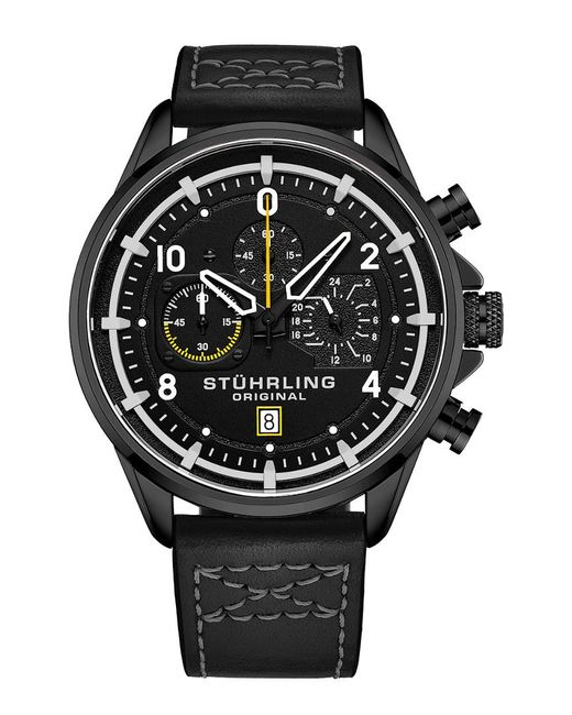 Stuhrling Original Black Aviator Watch for men