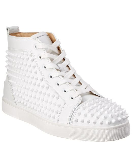 660c27102f18 Christian Louboutin - White Louis Spiked Leather Sneakrs for Men - Lyst ...