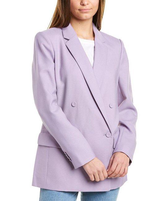 Club Monaco Purple Covered Button Wool-blend Blazer