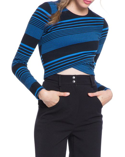 Plenty by Tracy Reese - Blue Variated Stripe Knit Crop Top - Lyst