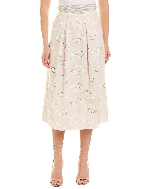 Rebecca Taylor Natural Garden Eyelet Linen Maxi Skirt