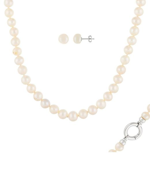 Splendid Metallic Rhodium Plated Silver 9-10mm Freshwater Pearl Necklace & Earrings Set