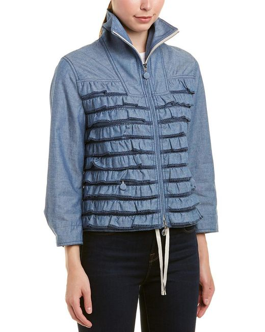 Moncler Blue Frill Zipped Jacket