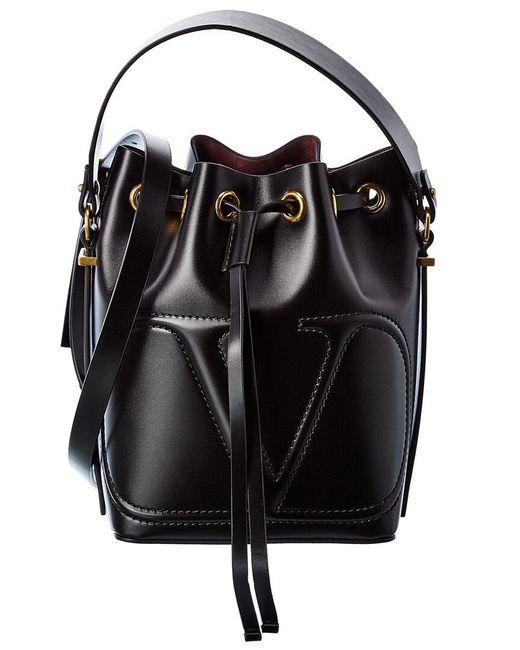 Valentino Garavani Black Vlogo Walk Leather Bucket Bag