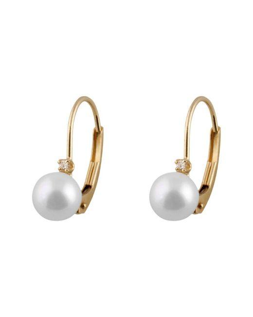 Splendid Metallic Splendid 14k 0.02 Ct. Tw Diamond & 5-6mm Freshwater Pearl Earrings
