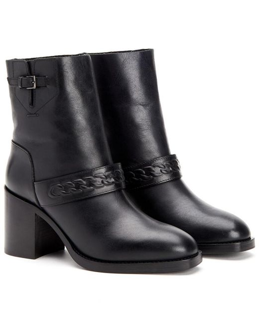 Aquatalia Black Evette Burnished Waterproof Leather Bootie