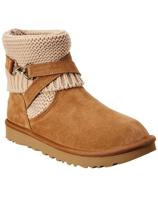 Ugg Brown Purl Strap Suede Boot