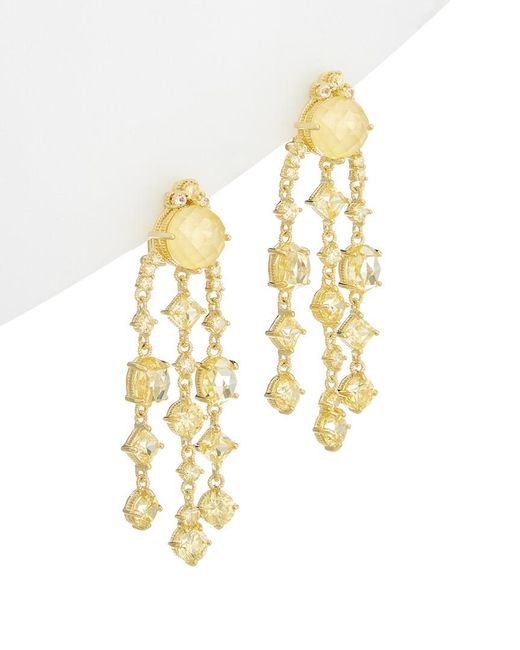 Judith Ripka - Metallic Gold Over Silver 0.61 Ct. Tw. White Topaz & Cz Drop Earrings - Lyst
