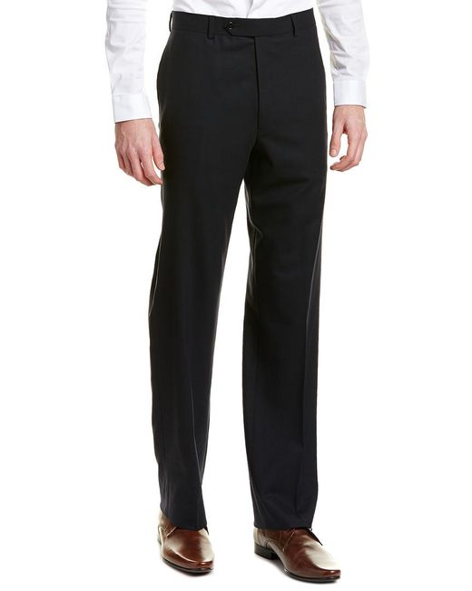 Brooks Brothers Blue Madison Fit Flat Front Wool Blend Trouser for men